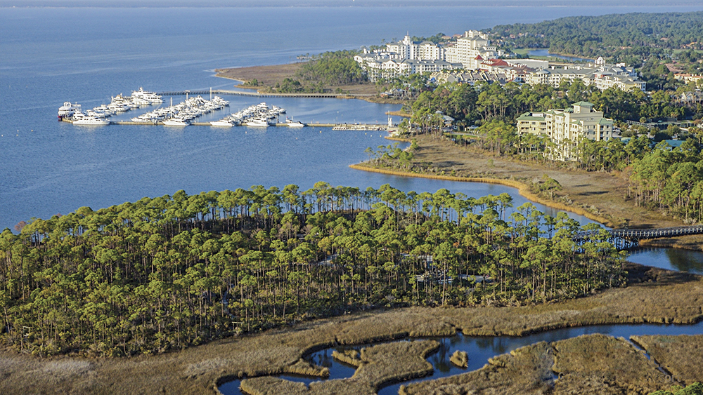 Sandestin aerial view-Jolee Island, the marina and the conference facility